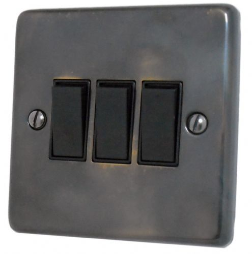 G&H CAN3B Standard Plate Polished Aged Brass 3 Gang 1 or 2 Way Rocker Light Switch